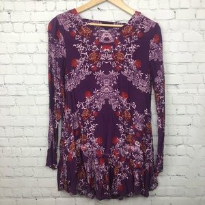 Free People Long Sleeve Floral Tunic